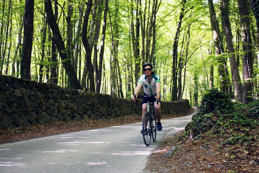 Brian cycling through the magical La Fageda de la Jordá