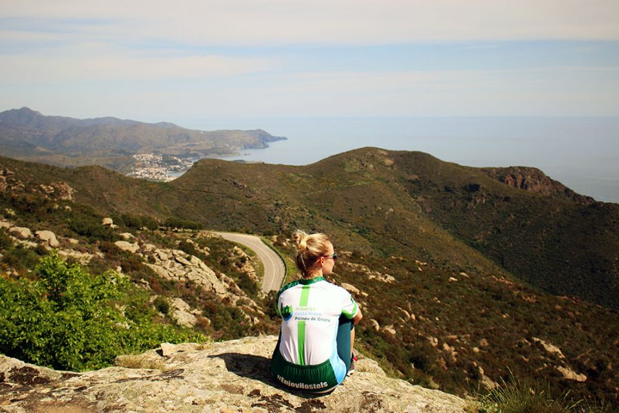 Noelle admiring views of the Costa Brava after Cycling From The Pyrenees To Costa Brava
