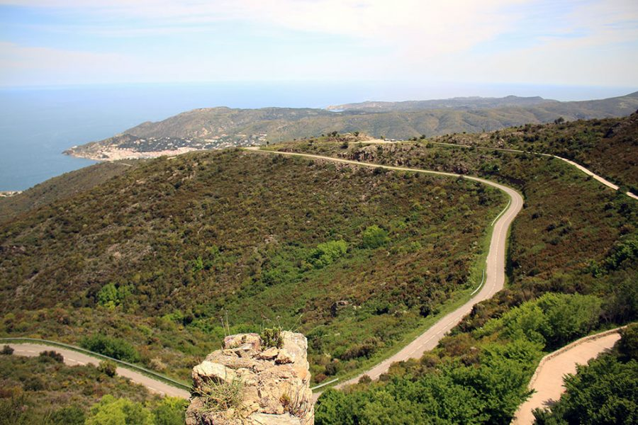 The road winding down to the coast