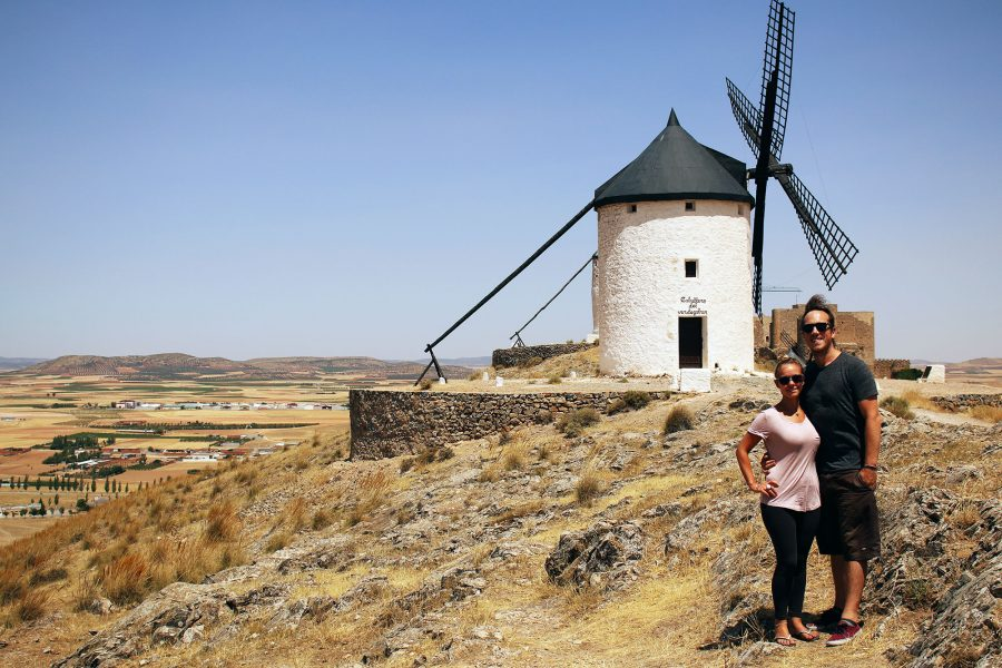 Enjoying the luxuries of group travel at the windmills of La Mancha