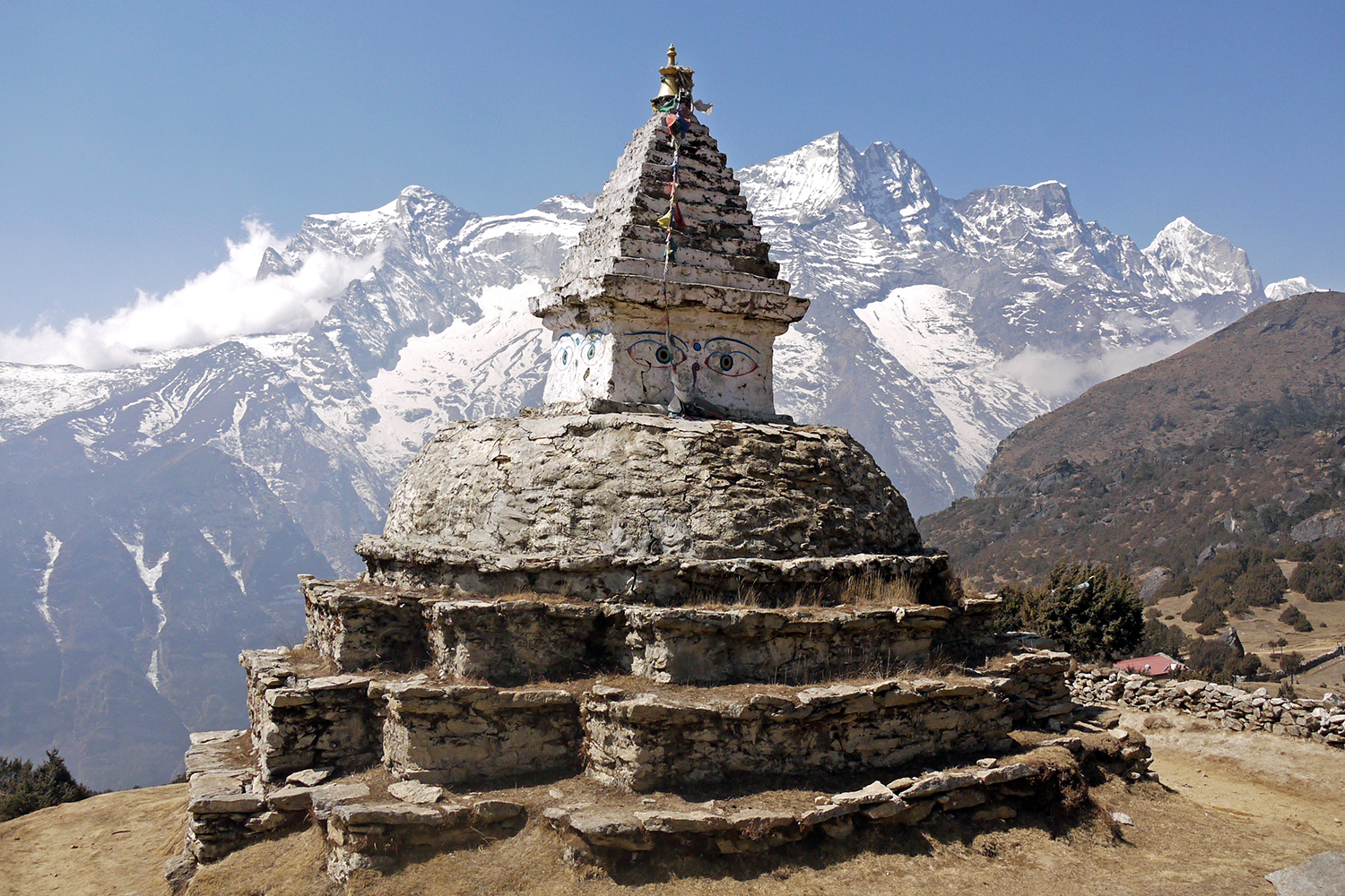 Ancient stupa above Namche Bazaar, the biggest town on the EBC trail