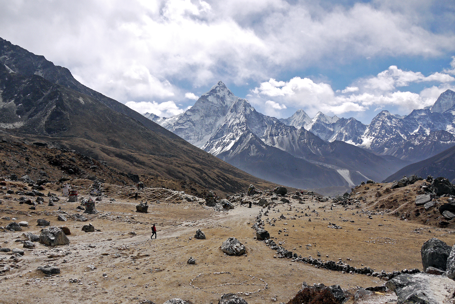 Vast and barren valleys mark the trail from Lukla to Gorak Shep