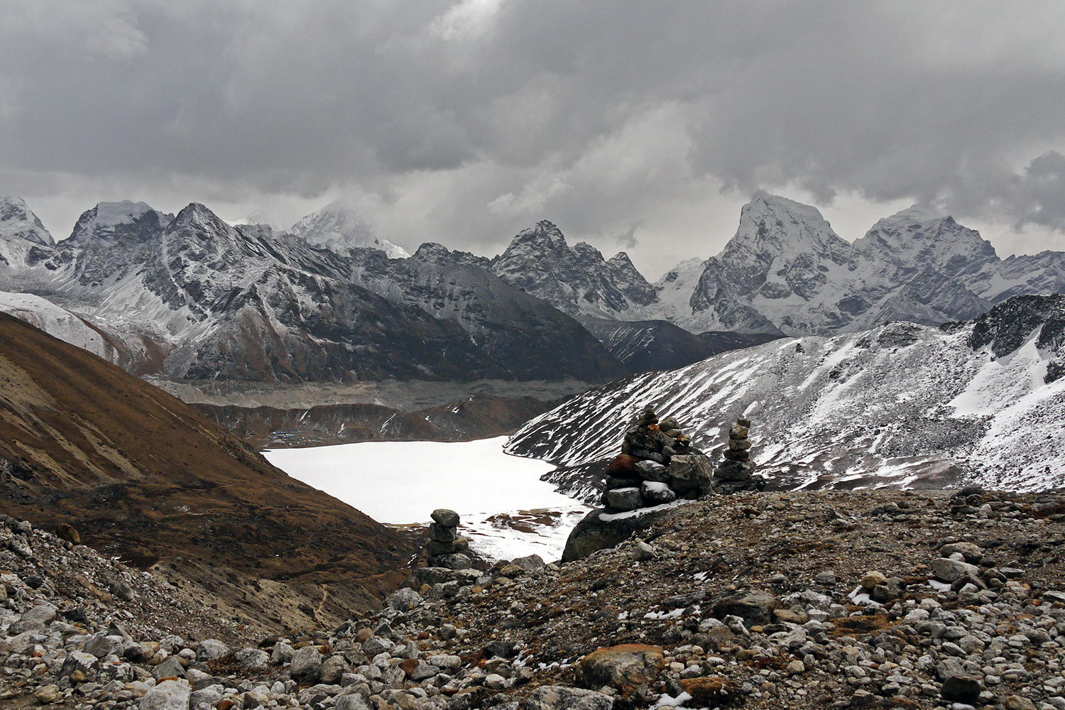Looking back over Gokyo Lake from the Renjo La Pass at an altitude of 5,400m
