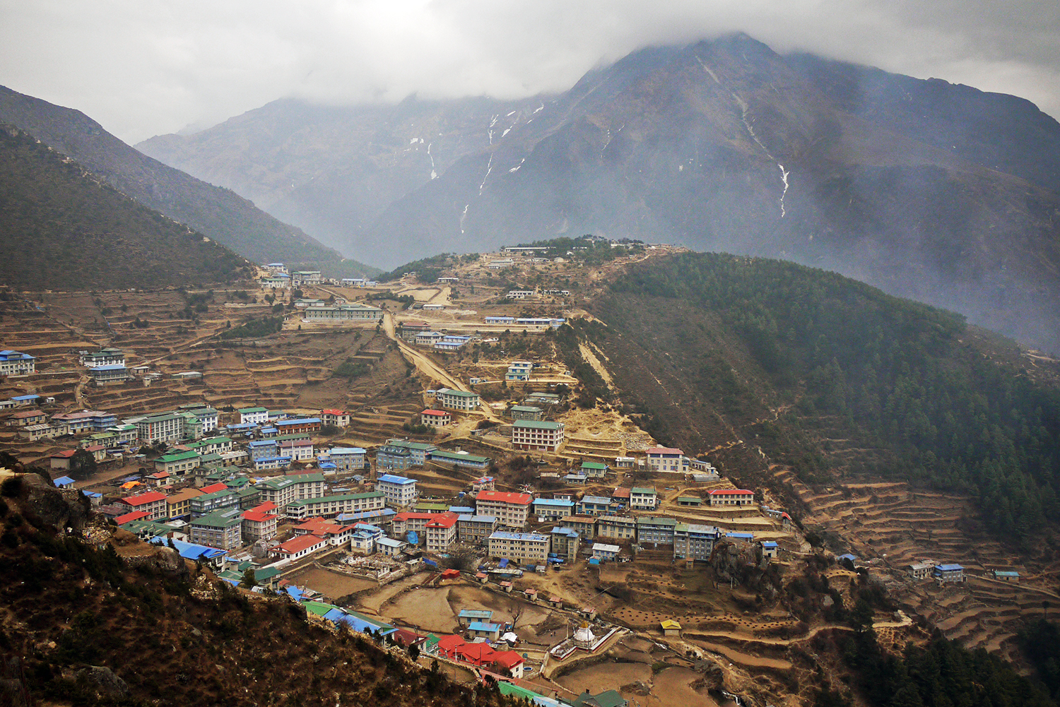 Namche Bazaar, the biggest town on the Everest Base Camp trail - home to the highest post office in the world