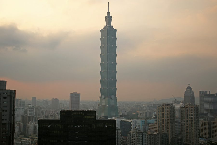 Taipei 101 at sunset from Elephant Hill