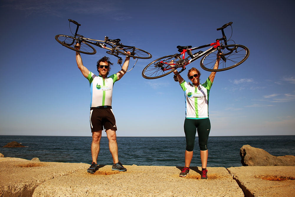 Celebrating the end of our cycle trip from the Pyrenees to the Costa Brava