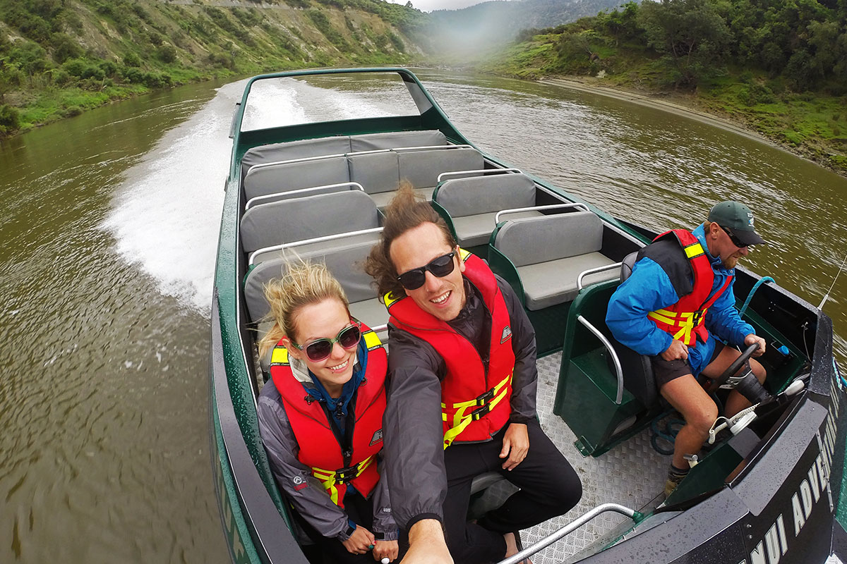 Flying down the Whanganui River by Jetboat