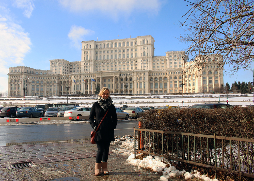 Noelle at the second largest building in the world in Bucharest