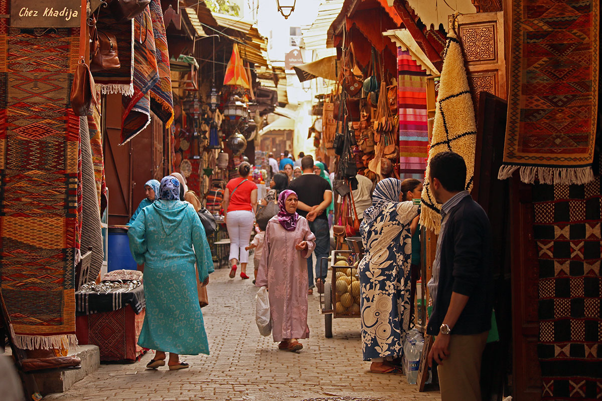The carpet lined streets of the Fez Medina