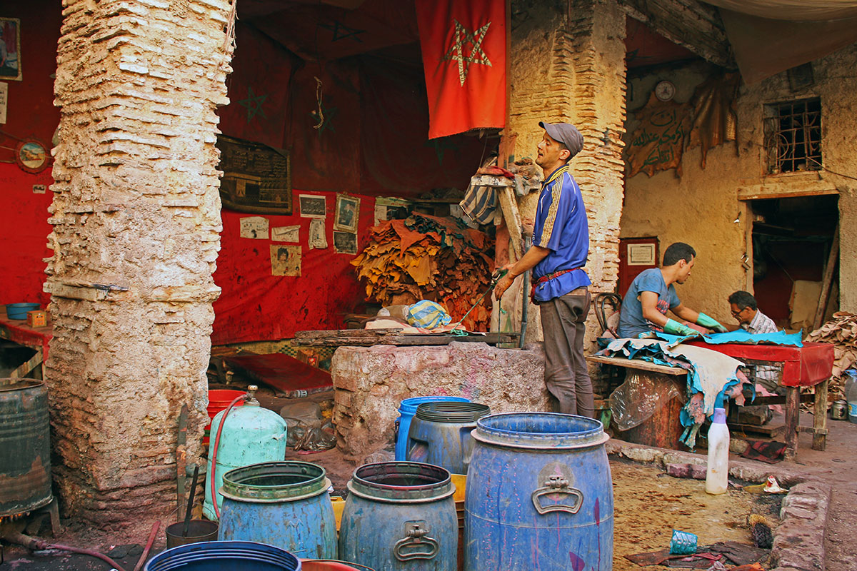 Tanneries where leather is treated