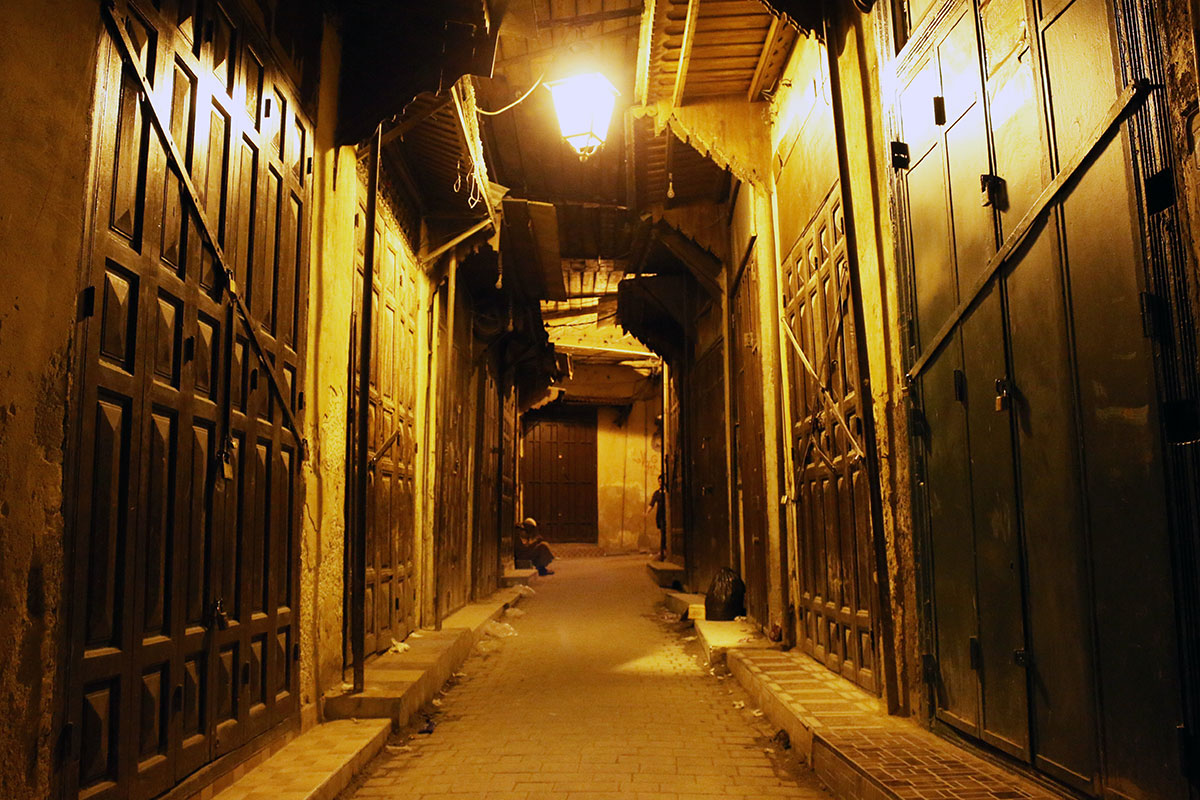 The quiet streets of the Medina after closing time