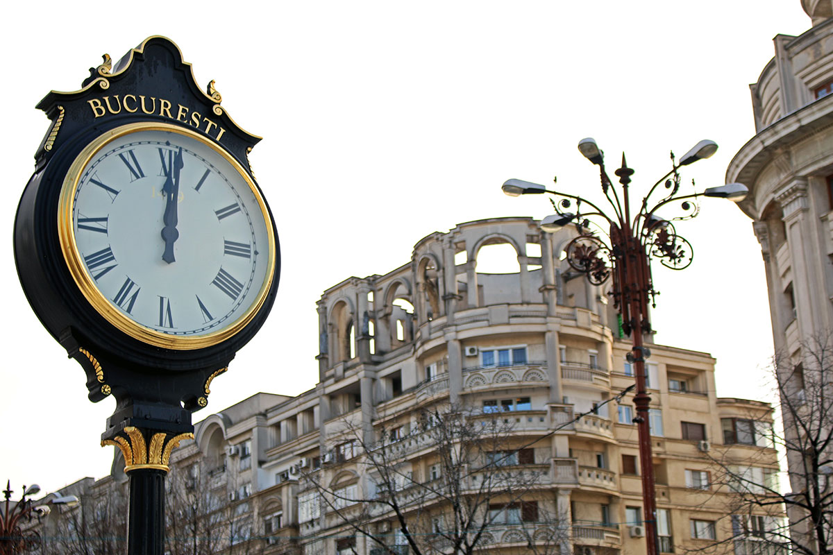 Vintage clocks scattered throughout Bucharest