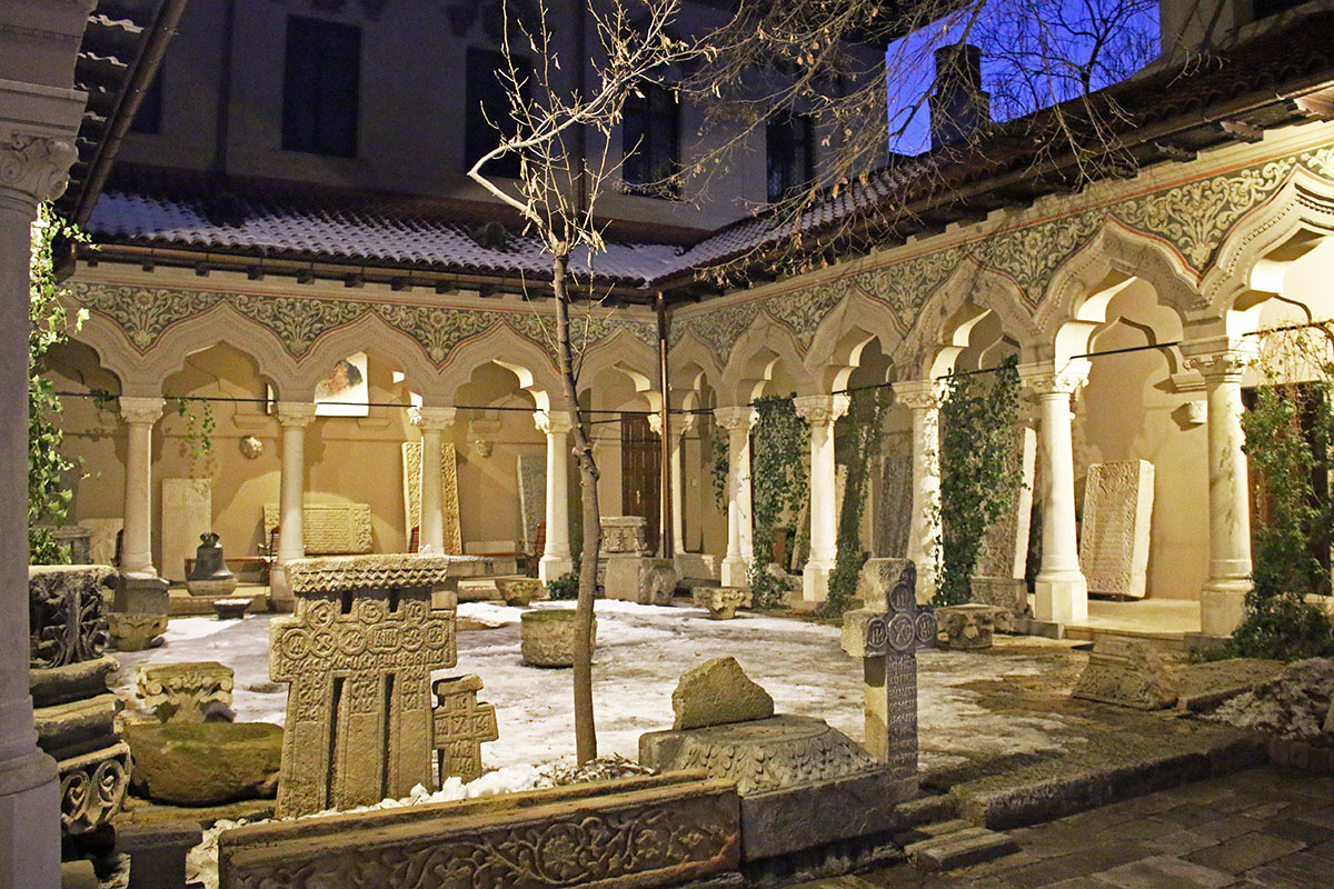 Peaceful courtyard next to Stavropoleos Romanian Orthodox Church