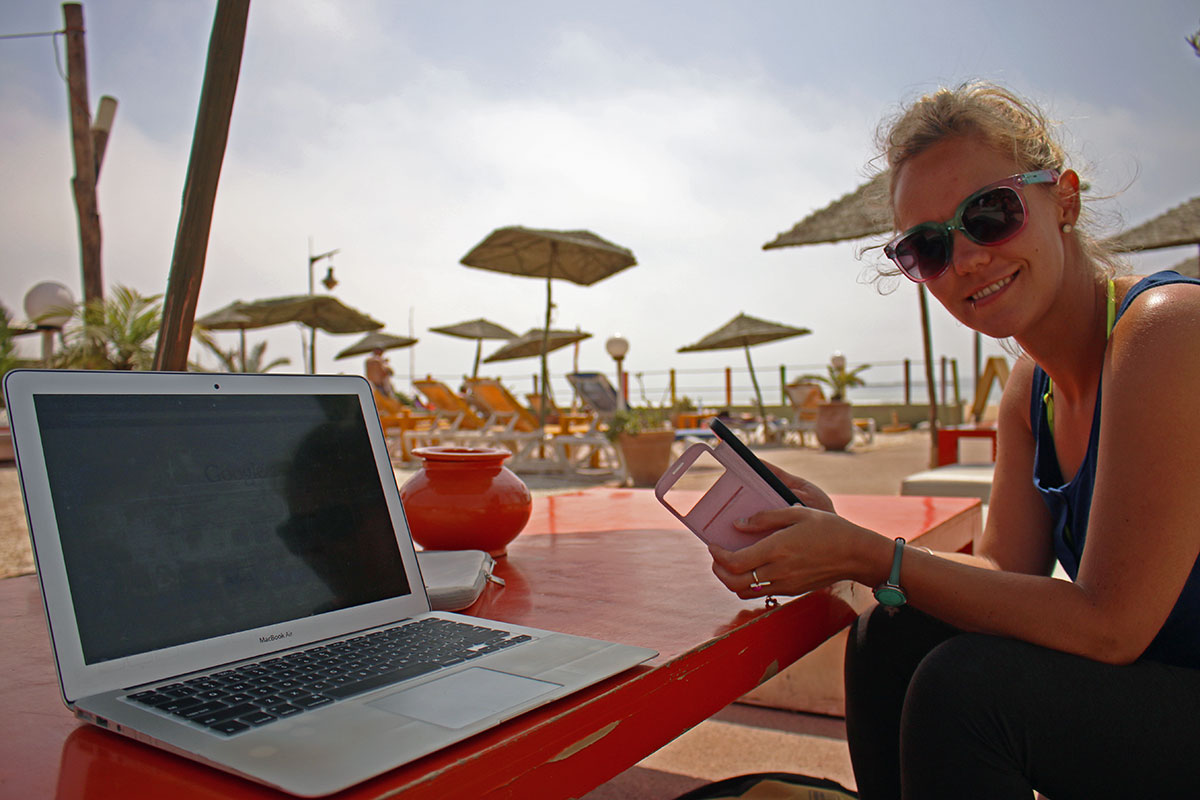 Working at the beach in Morocco