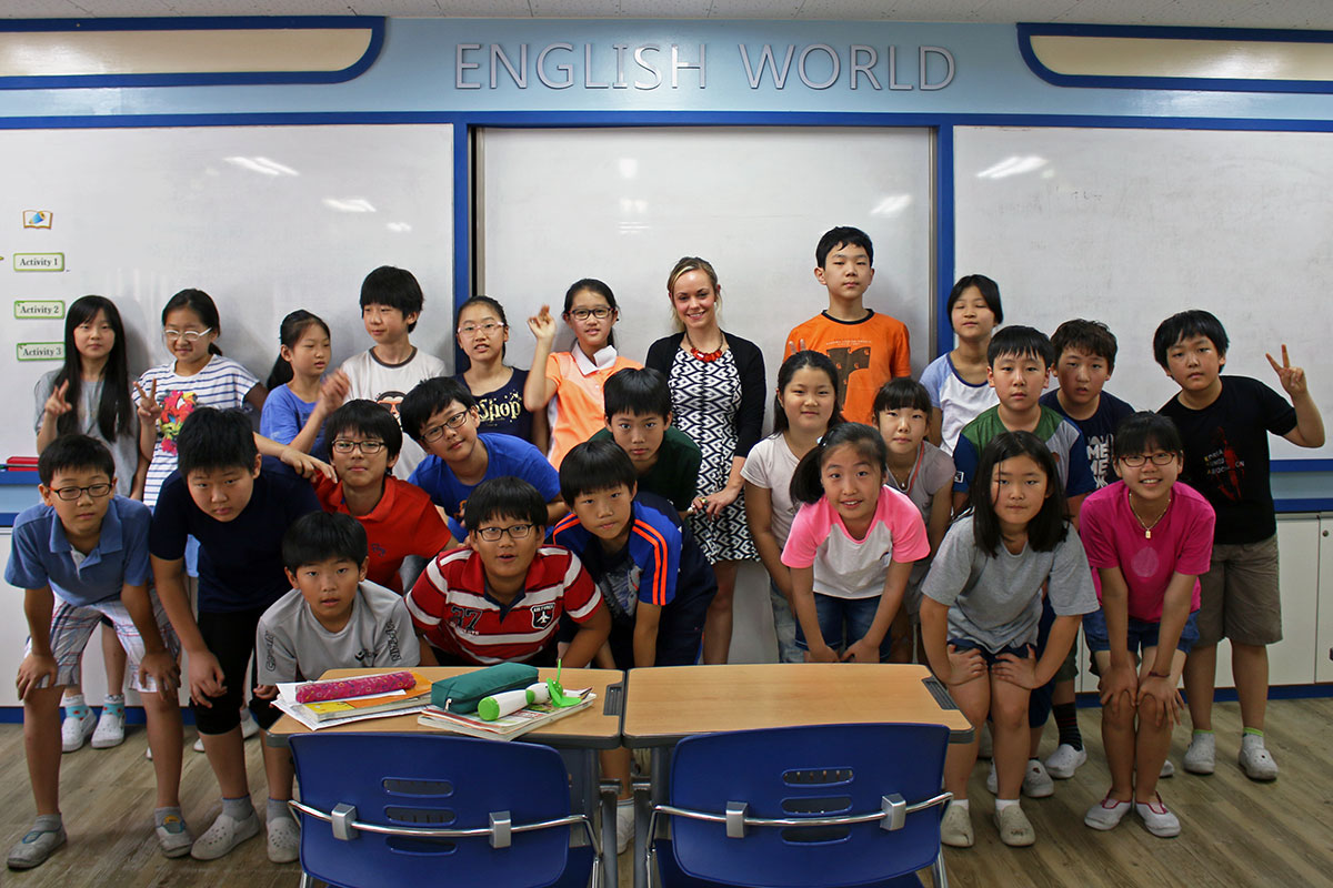 Noelle with some of her students in Korea