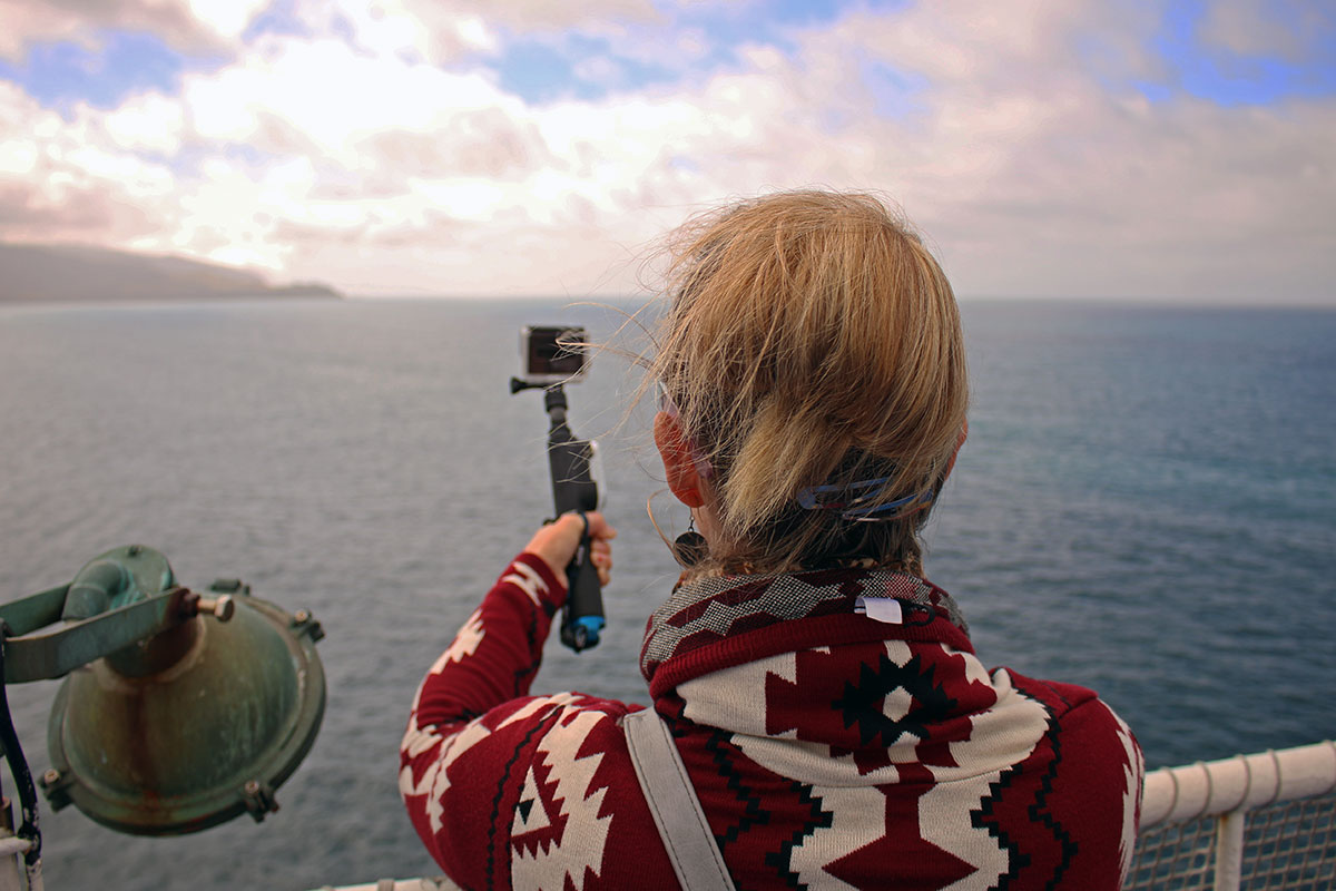 Noelle filming with the GoPro
