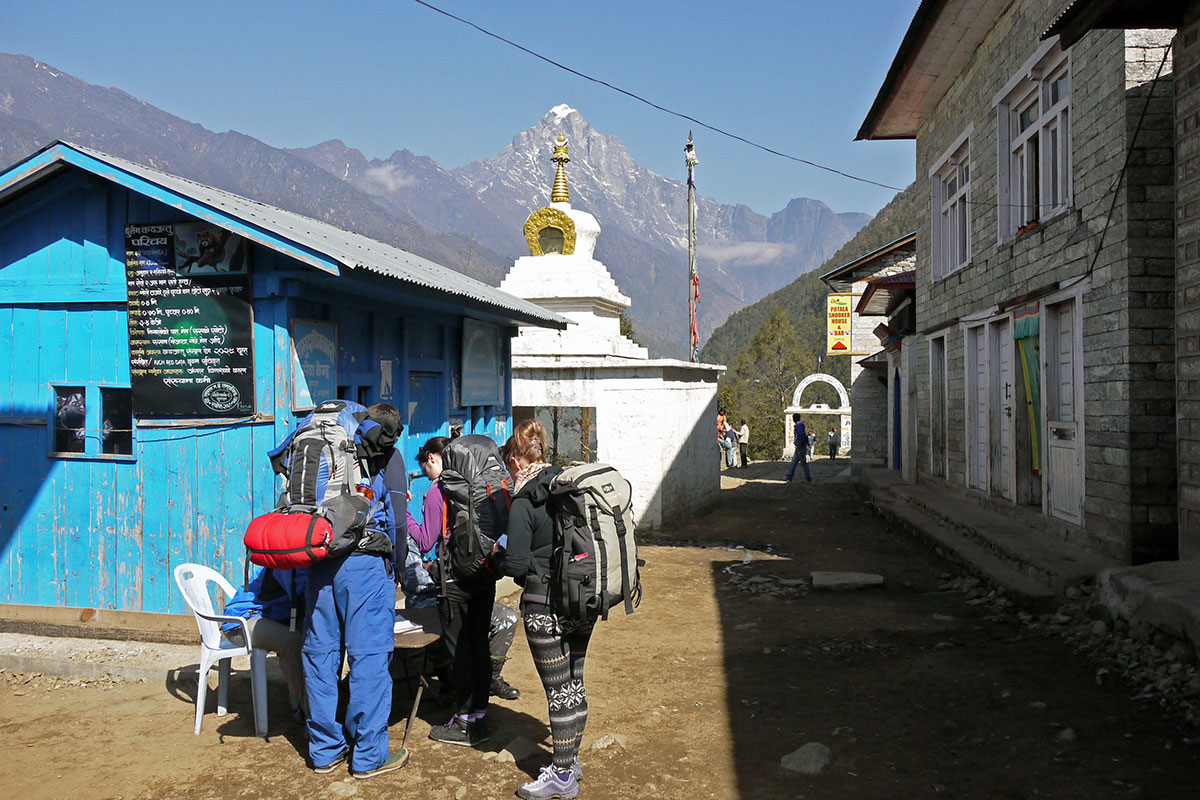 Having our TIMS checked fort he first time in Lukla