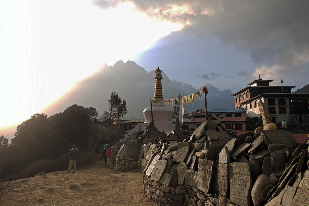 Sun breaking through the clouds at Tengboche