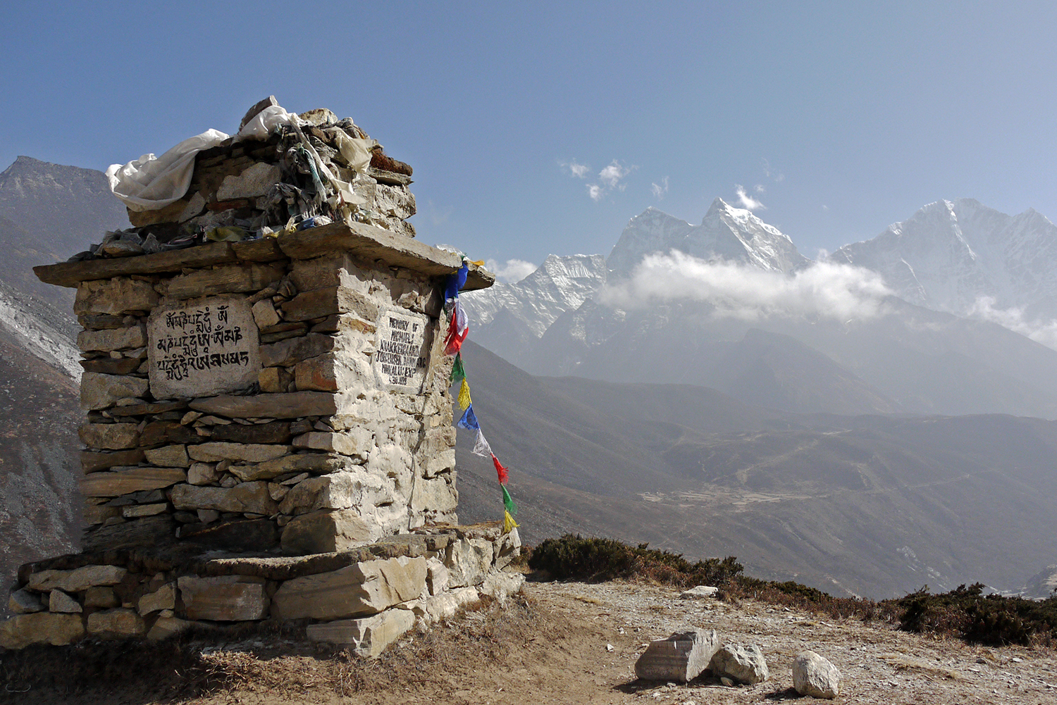 Memorials to fallen climbers on the EBC trail