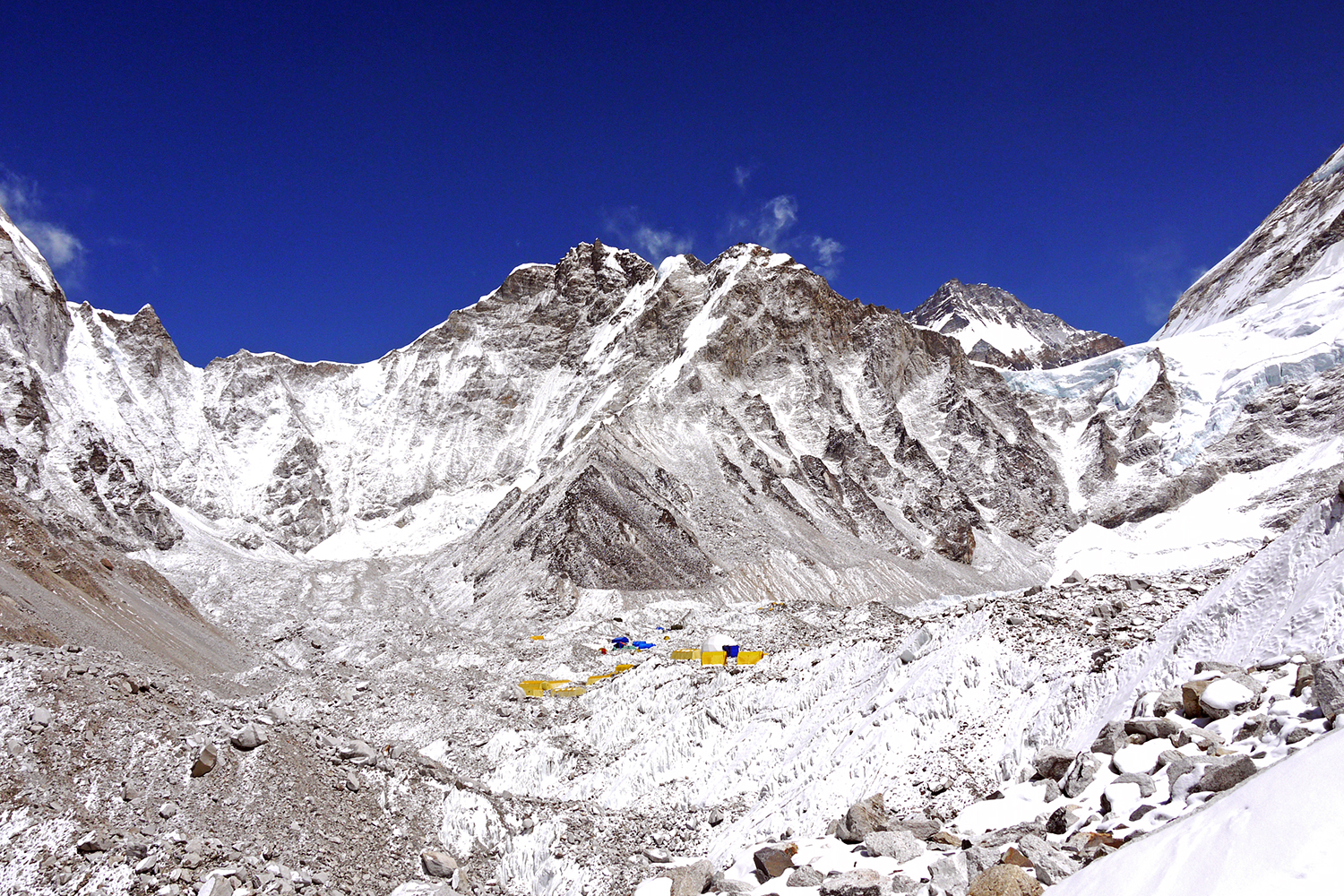 Blue skies over Everest Base Camp