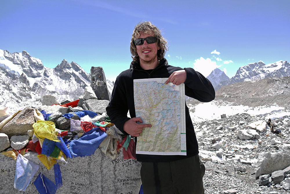 Brian showing the route we walked to reach Everest Base Camp | Everest Base Camp Trek independently | Everest Base Camp Trek without a guide | Everest Base Camp Trek solo | Everest Base Camp Trek unguided | Everest Base Camp Trek self-guided