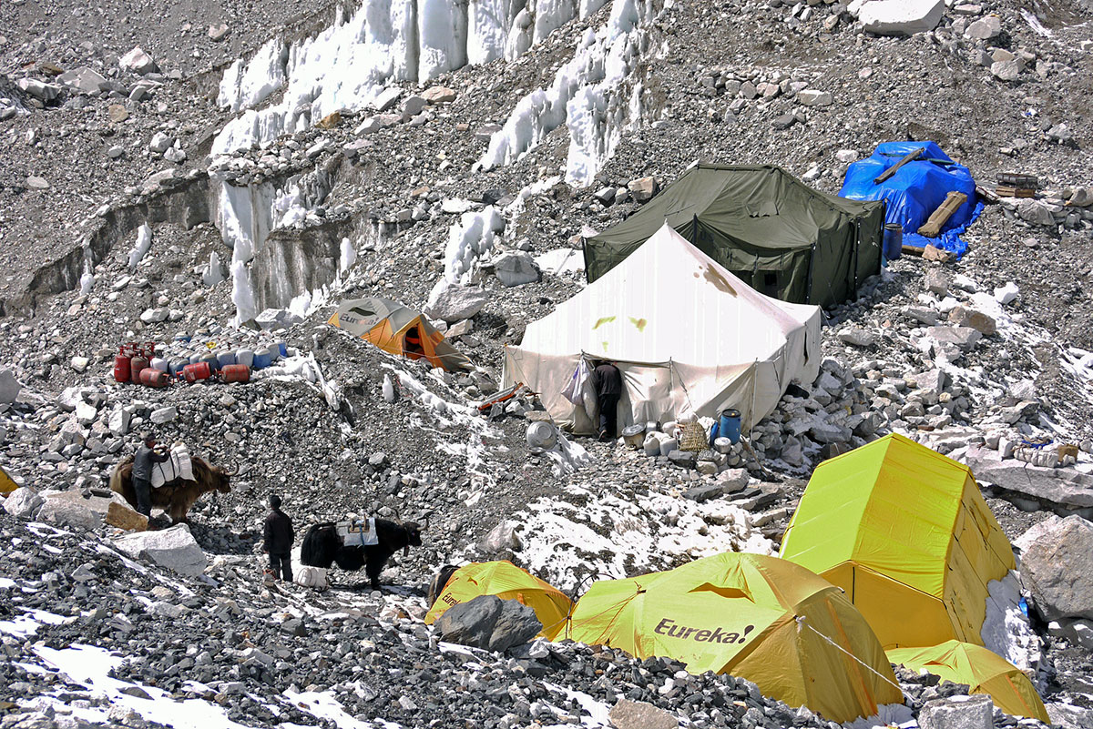 Preparing for climbers at Everest Base Camp