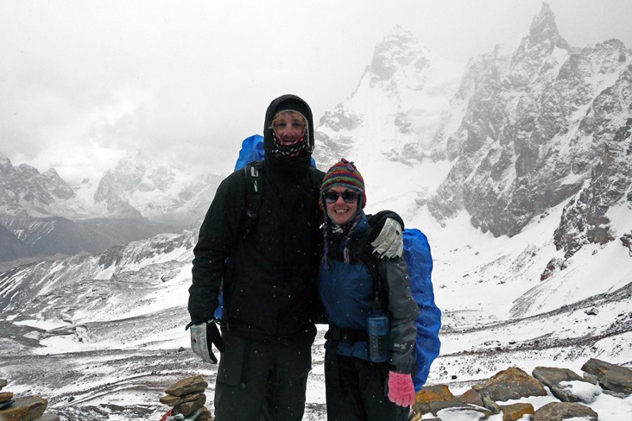 Wrapped up against the elements at the top of the Renjo La Pass
