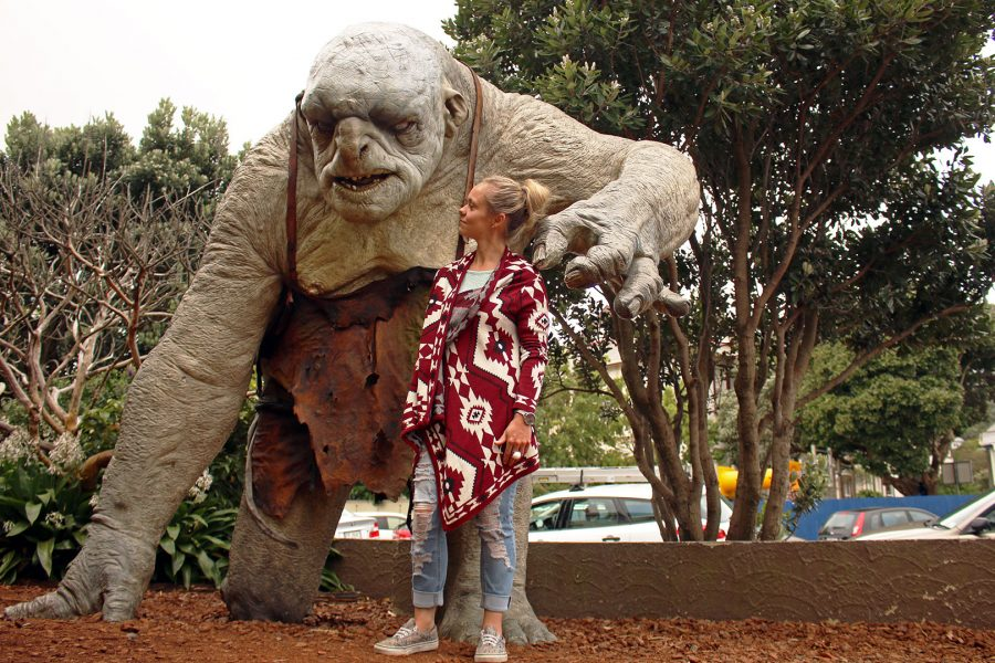 Noelle eyeballing a troll at Weta Workshop