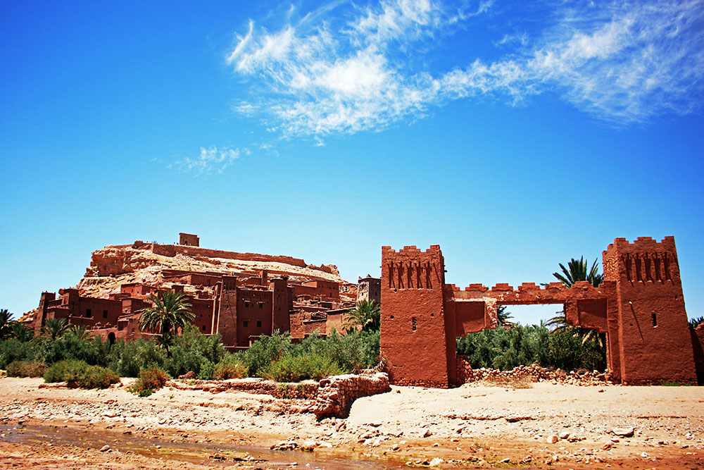 The UNESCO World Heritage Site of Aït-Benhaddou, a mud brick city on the edge of the High Atlas Mountains where numerous movies have been filmed.