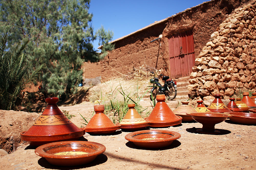 Clay tagine pots dry in the sun somewhere in Morocco