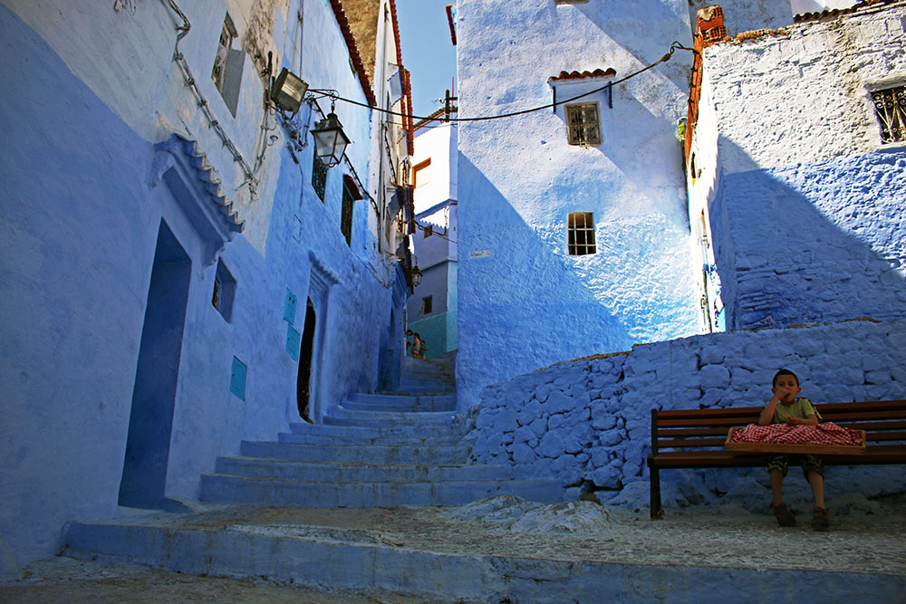 The beautiful blue city of Chefchaouen in the North of Morocco