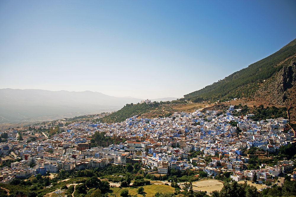 Views over Chefchaouen and the surrounding Riff Mountains.