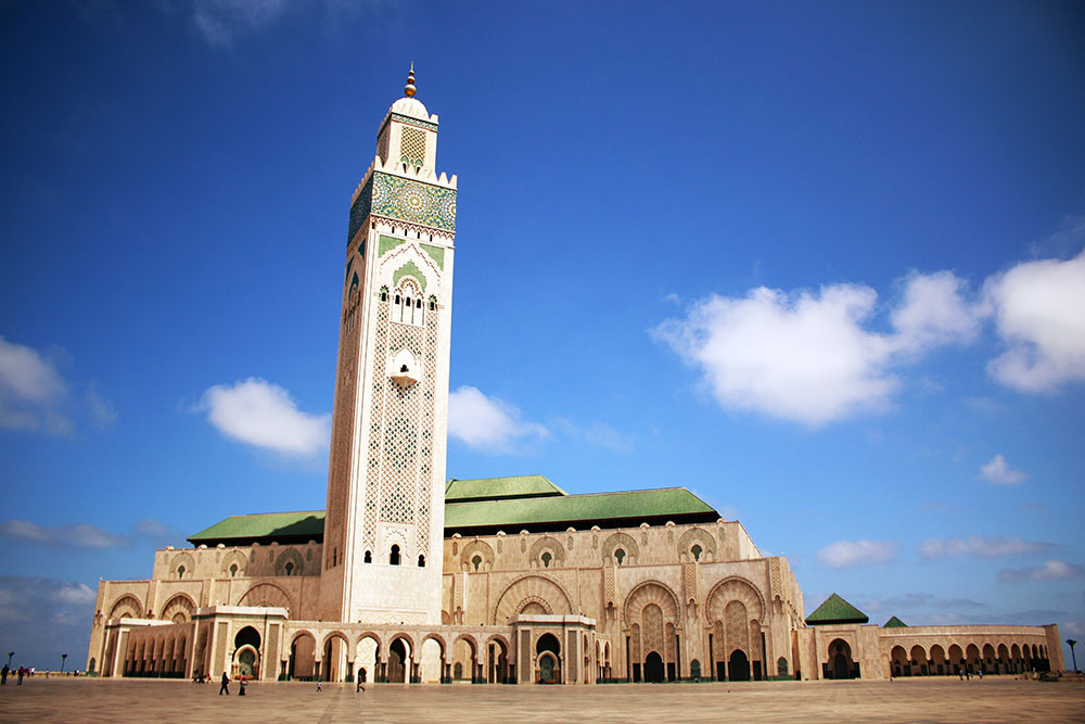 Hassan II Mosque in Casablanca is the largest mosque in Morocco and has the tallest minaret in the world.