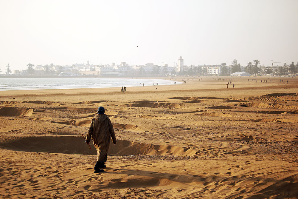 Local man makes his way across the sands of Camels chilling on the beach at Essaouira beach - Morocco's kitesurfing mecca.