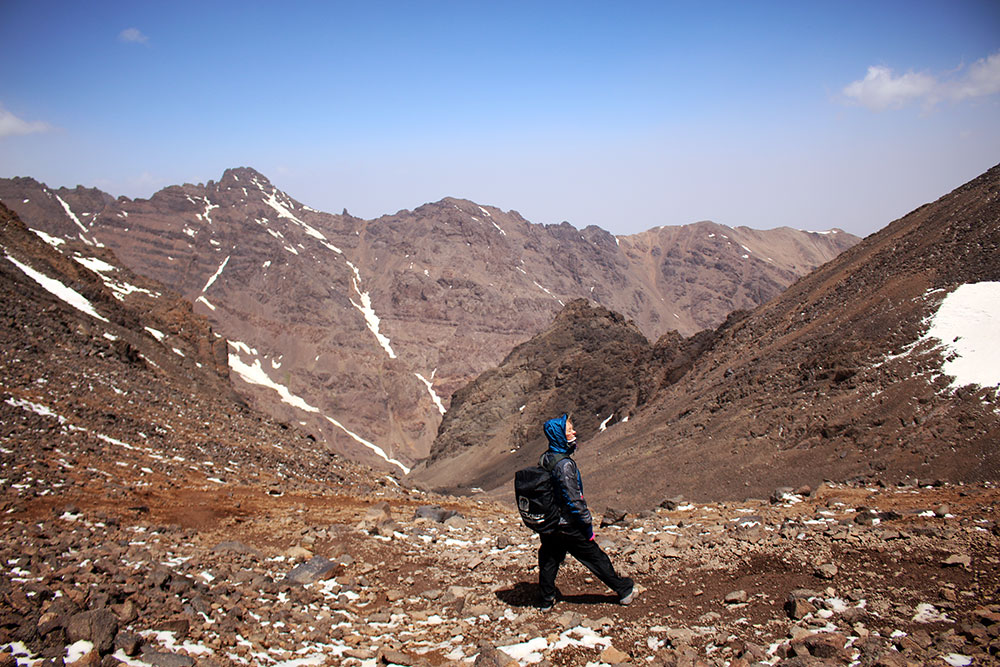 Walking down from the summit of Jebel Toubkal, the highest peak in Morocco and North Africa.