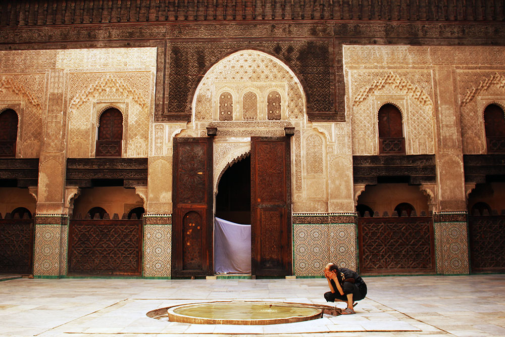 A man washing before prayer at Qaraouine Mosque in Fez.