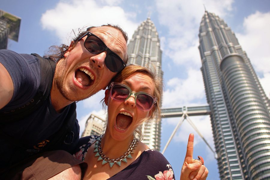 Hanging out at the Petronas Towers in KL