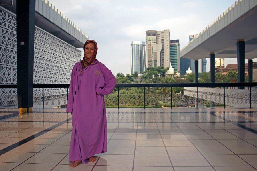 Noelle in her purple robes inside the Masjid Negara