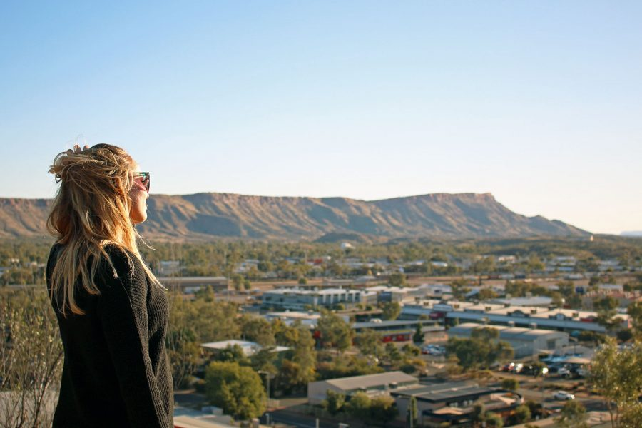 Watching sunset from Anzac Hill in Alice Springs