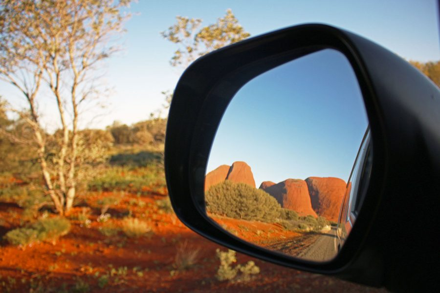 Kata Tjuta in our wing mirror