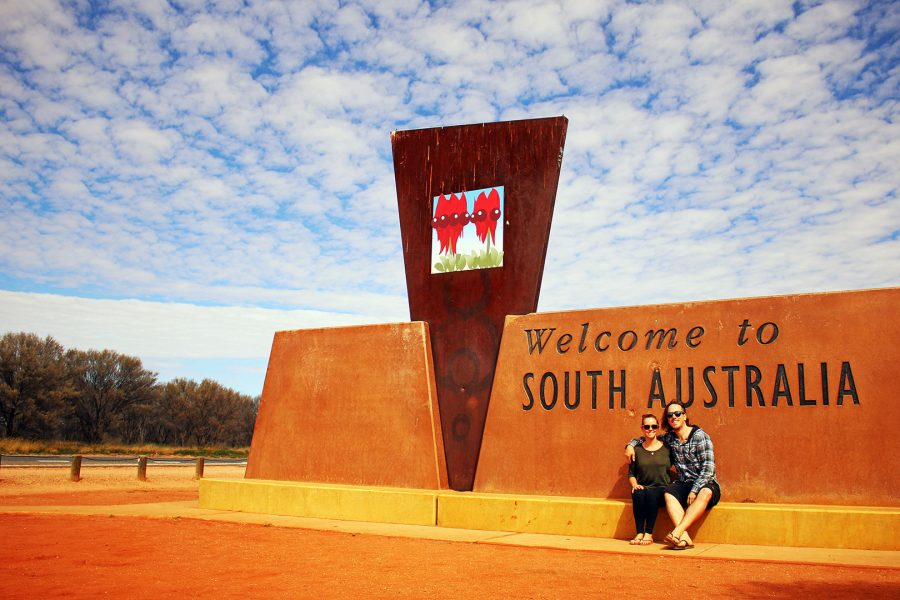 The obligatory border photo crossing at the NT/SA border on the Stuart Highway