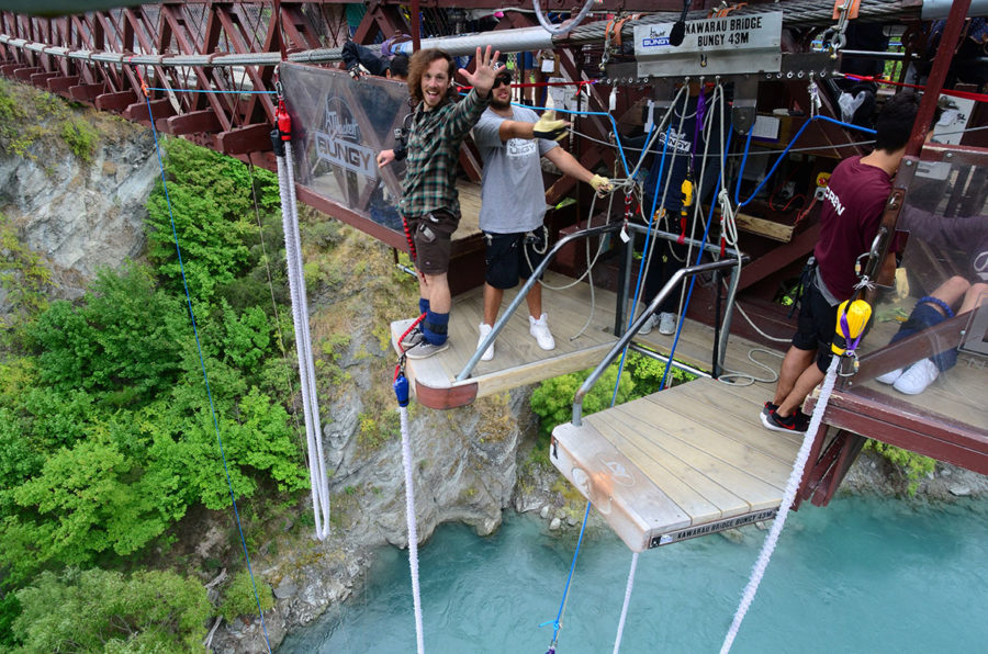 Backpacker Insurance - Brian getting ready to bungy jump off the Kawarau bridge in New Zealand