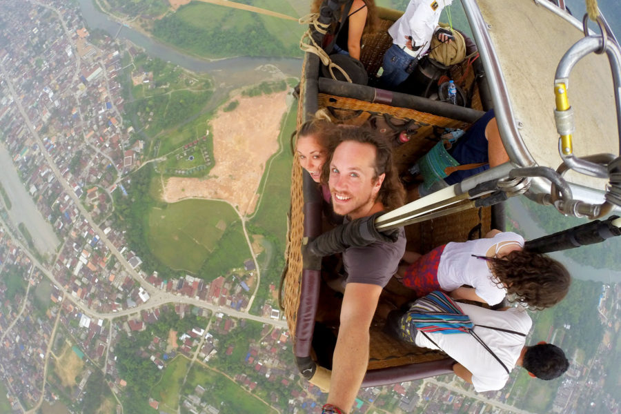backpacker travel insurance - Hot air ballooning in Laos