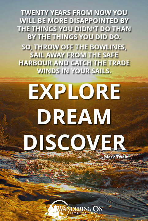 Explore Dream Discover - Mark Twain | Quote | Sunset with waterfall in the foreground