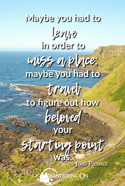 """Maybe you had to leave in order to miss a place; maybe you had to travel to figure out how beloved your starting point was."" ― Jodi Picoult 