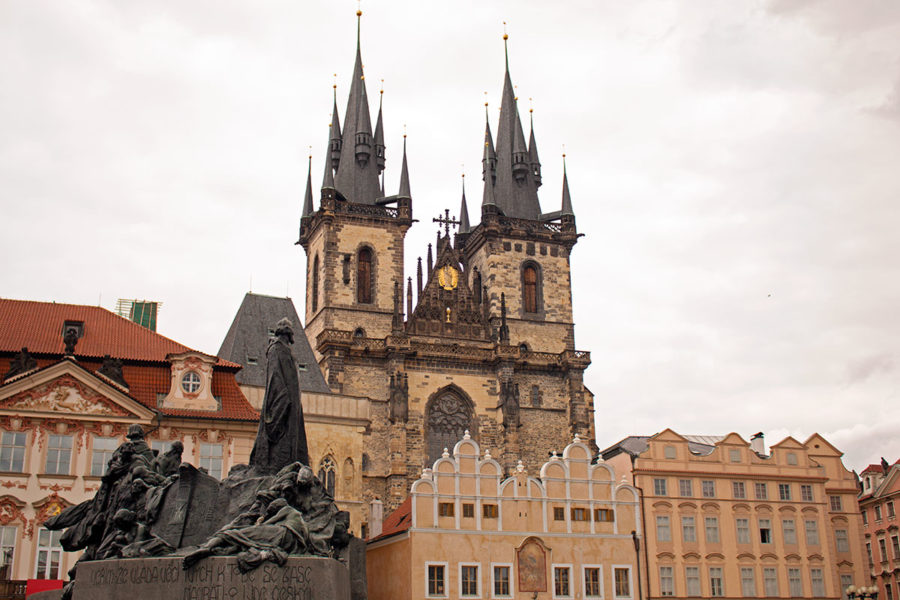 The iconic spires of the Church Of Our Lady Before Týn, Old Town Square Prague, Best free things to do in Prague, what to see in Prague, Prague on a budget