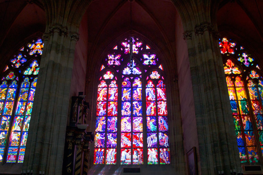 stained glass window St Vitus Cathedral Prague, best free things to do in Prague, what to see in Prague, Prague on a budget
