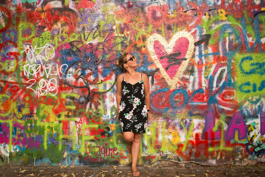 Love heart on the John Lennon Wall in Prague, what to do in Prague, cheap things to do in Prague, Prague on a budget