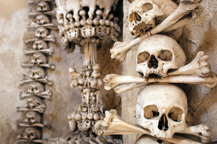 More macabre bone decorations in Sedlec Ossuary | A day trip from Prague to Kutna Hora bone church