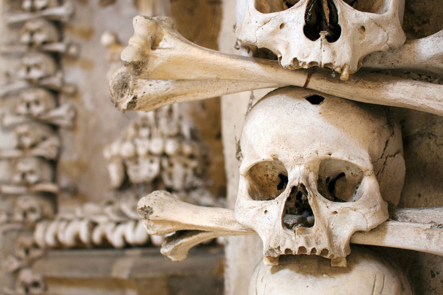 Skulls and bones are everywhere - as you'd expect in an aptly named 'Bone Church' | A day trip from Prague to Kutna Hora bone church